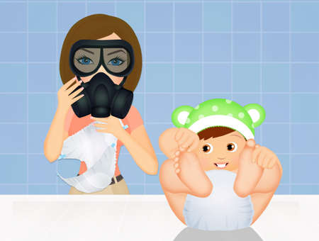 mother changing her babys diaper with gas mask