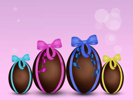 Easter eggs for the family Stock Photo