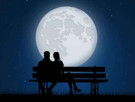 romantic couple on bench in the moonlight