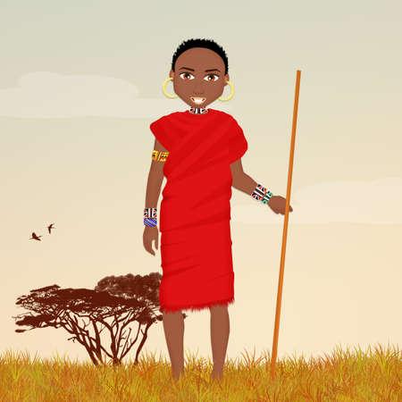 Masai man in African landscape