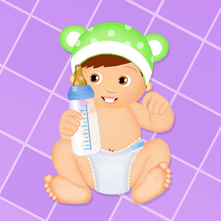 baby with diaper and baby bottle Foto de archivo - 96786888