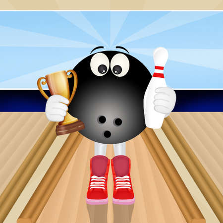 funny illustration of bowling ball