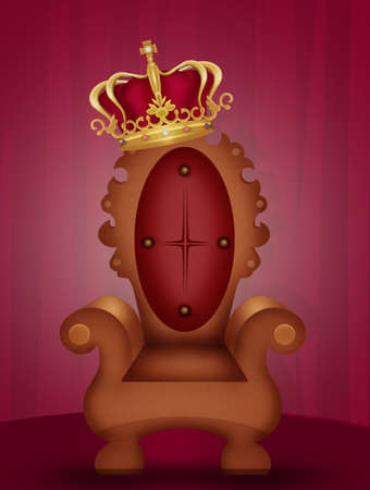 crown on the throne Stock Photo