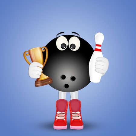 lustige Illustration der Bowlingkugel Standard-Bild