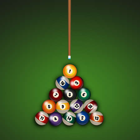 funny illustration of Billiards balls on table