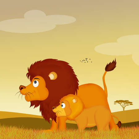 lions in African landscape