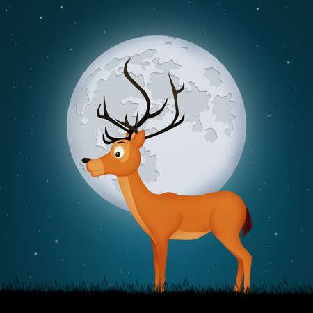 deer in the moonlight Stockfoto