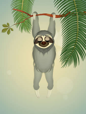 funny sloth hanging on branch