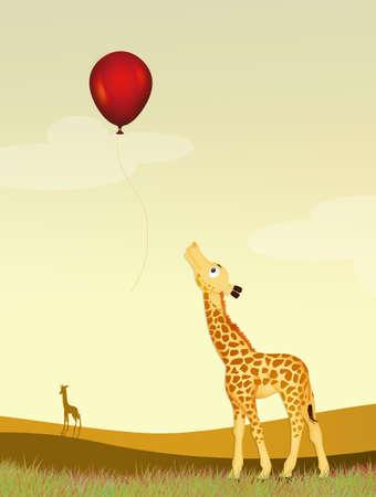 little giraffe look the red balloon