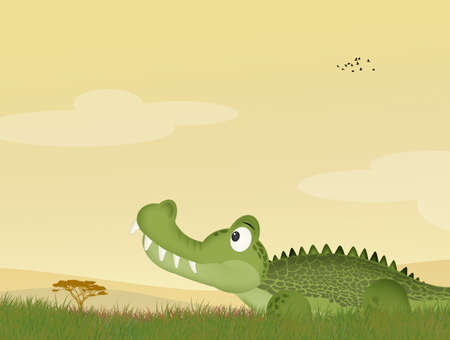 illustration of alligator in the grass Фото со стока