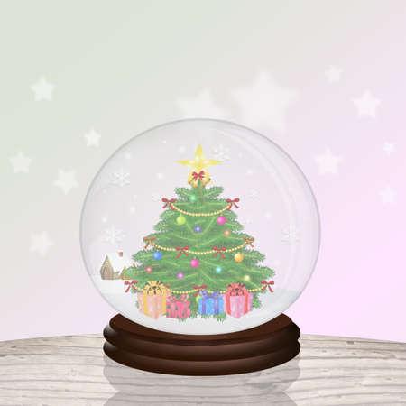 Sapin de Noël dans la boule de cristal