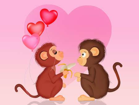illustration of monkeys in love