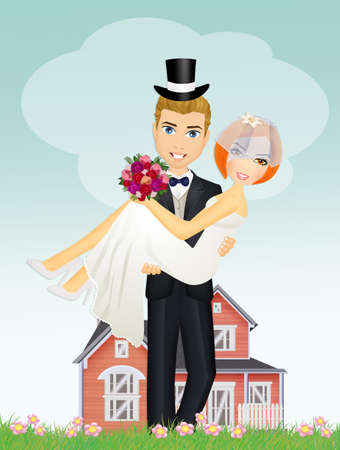 Happy groom holding beautiful bride