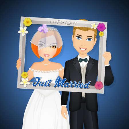 selfie with frame for bride and groom Foto de archivo - 99266516