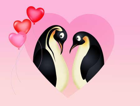 illustration of penguins in love