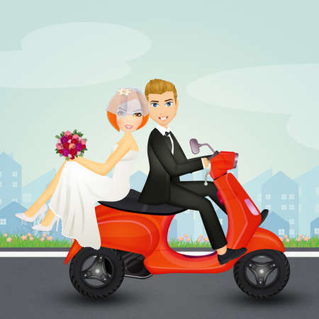 spouses on scooter Stock Photo