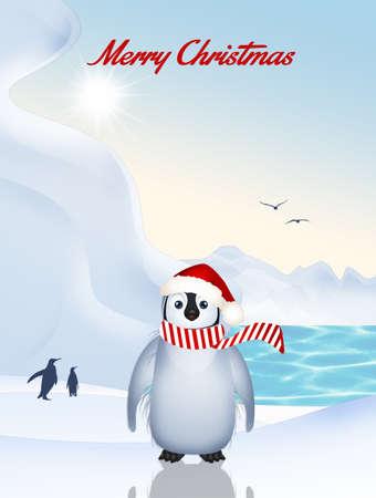 little penguin at Christmas Stockfoto