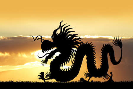 Chinese Dragon at sunset