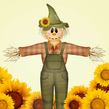 illustration of scarecrow and sunflowers