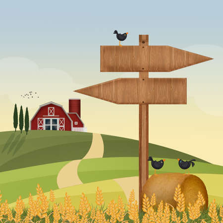 illustration of farm in the countryside Stock Photo