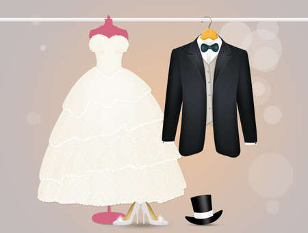 the clothes for the newlyweds Stockfoto