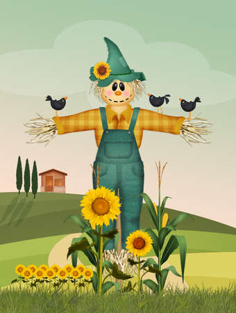 illustration of funny scarecrow