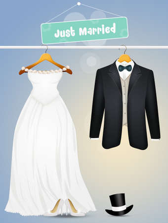 illustration of the clothes for the bride and groom