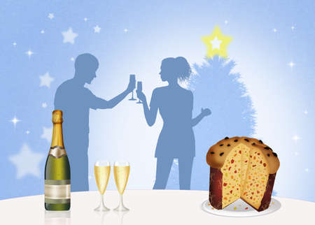 man and woman are toasting to the new year Stock Photo