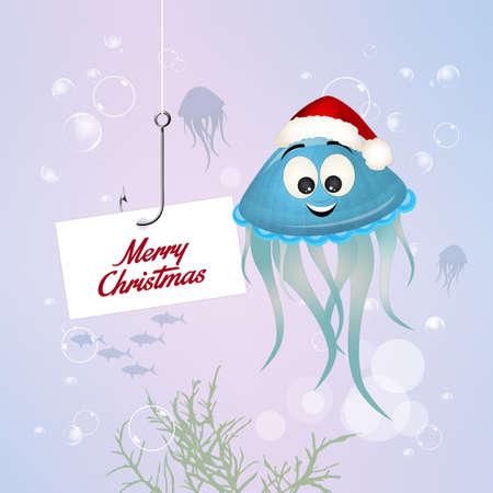 funny Christmas postcard Stock Photo