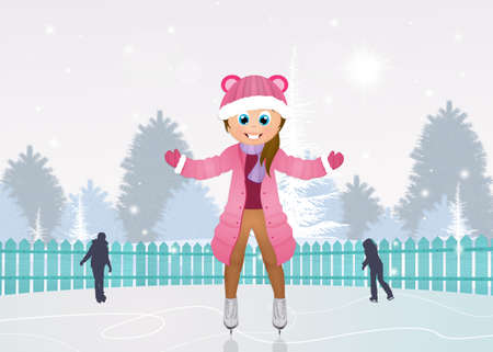 girl skating on ice Stock Photo