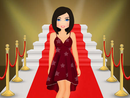 girl on Red Carpet Stock Photo