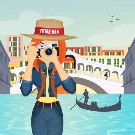 tourist girl in Venice