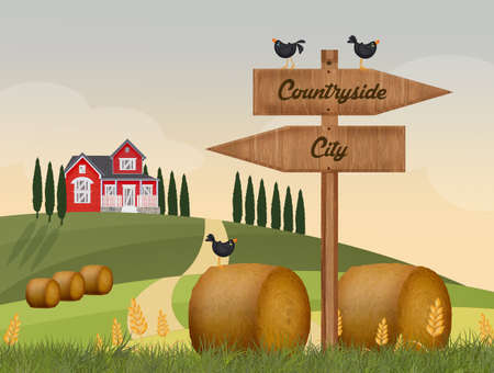 city or countryside Stock Photo