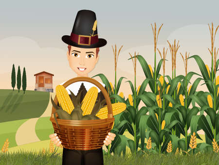 Pilgrim man prepares the harvest for thanksgiving