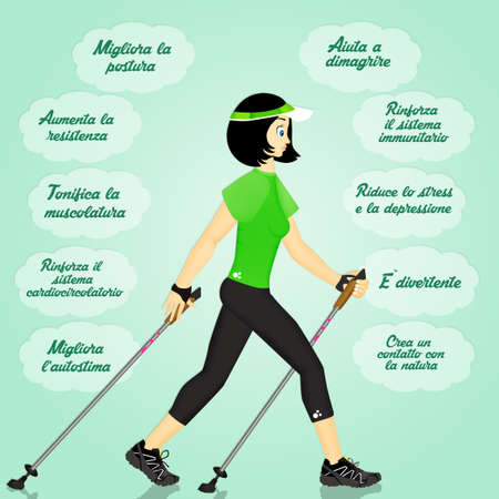 benefits for nordic walking Stockfoto