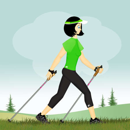 girl with chopstick for nordic walking Stockfoto
