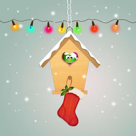 Christmas socks on bird house