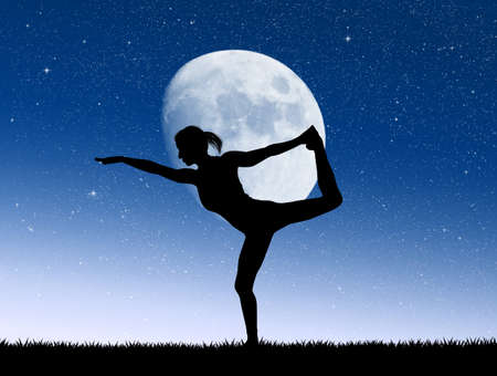 girl doing yoga in the moonlight