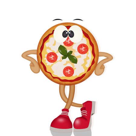 funny illustration of pizza Stok Fotoğraf