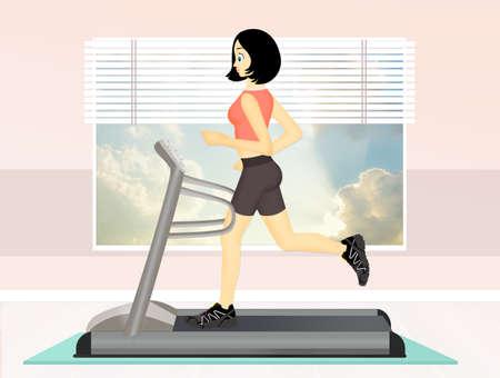illustration of girl running on tapis roulant
