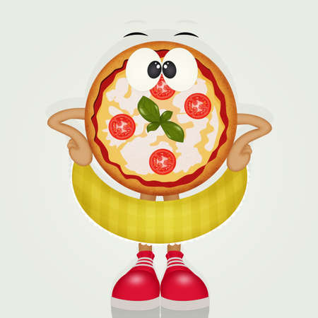 funny pizza with shoes Banco de Imagens