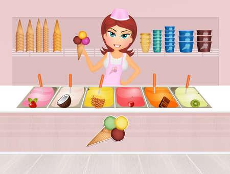 illustration of ice cream shop Stockfoto