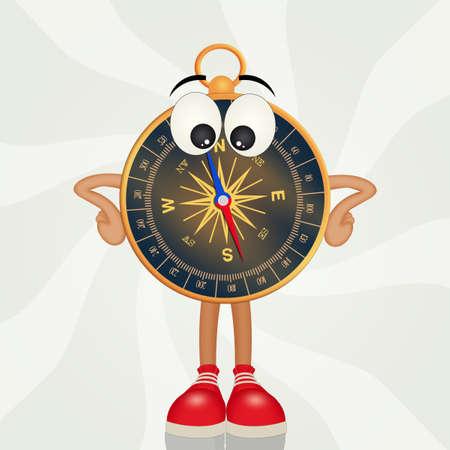 funny compass cartoon Фото со стока
