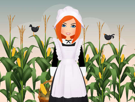 Pilgrim woman with corn cob