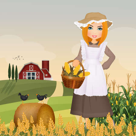 illustration of peasant girl
