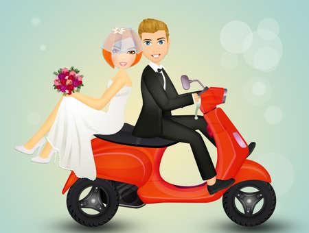 bruid en bruidegom op scooter Stockfoto