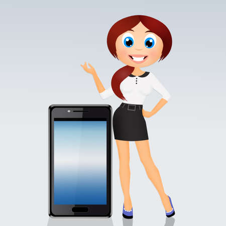 girl explains the functionality of the phone Banco de Imagens