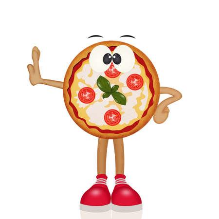 funny illustration of pizza Banco de Imagens