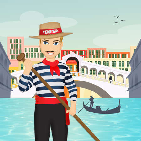 man on the gondola in Venice Banque d'images