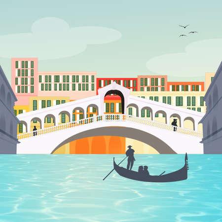 illustration of the Rialto bridge in Venice